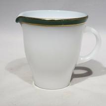 "Pyrex Green Band Gold Stripe White Milk Glass Creamer Replacement 3.75"" high EUC - $12.95"