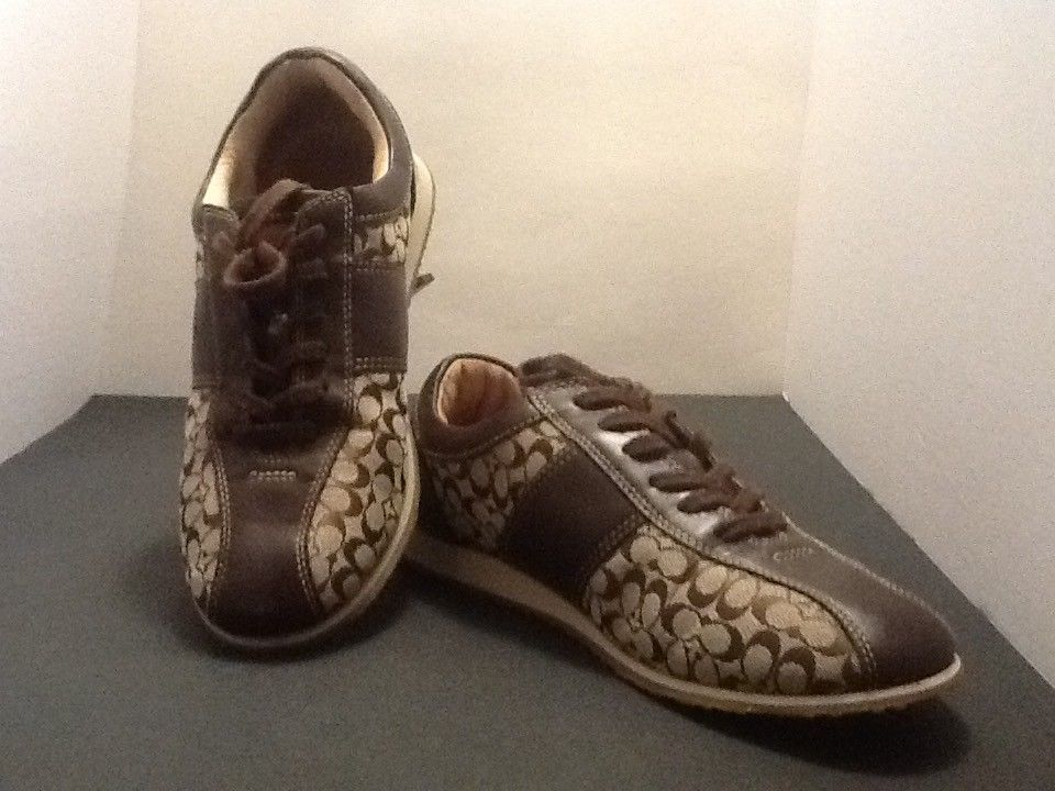 Coach Noella Womens Brown Canvas Tennis Shoes Size 9 - Athletic