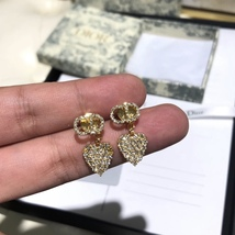 AUTH Christian Dior 2019 CLAIR D LUNE CD CRYSTAL LOGO HEART DANGLE STAR Earrings image 5
