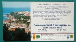 TEXAS Int'l Travel Agency AD + View Monte Carlo Monaco - 1960s INK BLOTTER - $4.94
