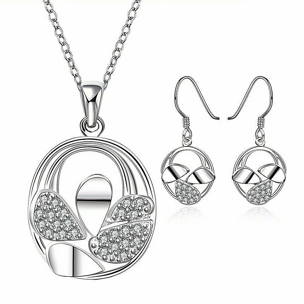 Primary image for Circle Leaf Pendant Necklace and Earrings Set 925 Sterling Silver NEW