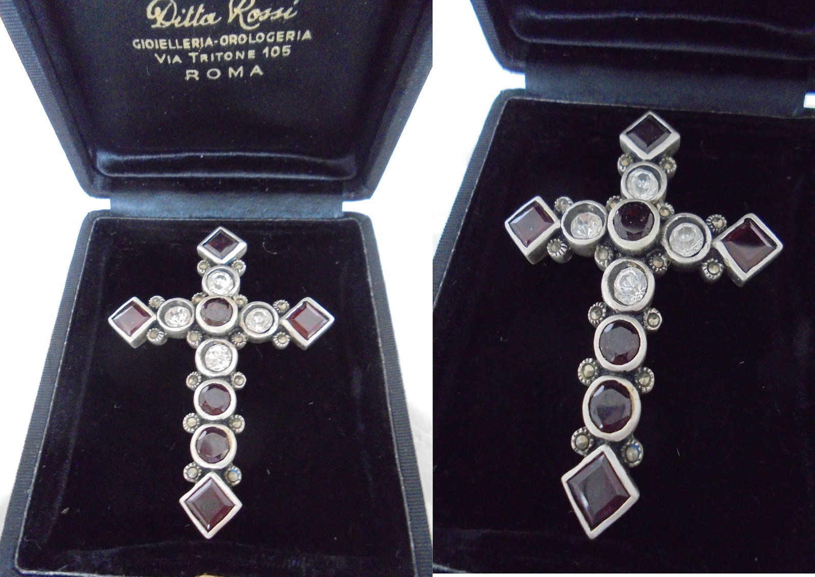 Primary image for CRUCIFIX cross pendent charm for necklace in SILVER STERLING 925 and Swarovski c