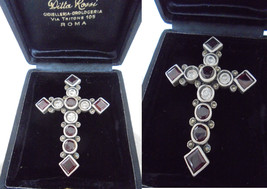 CRUCIFIX cross pendent charm for necklace in SILVER STERLING 925 and Swa... - $89.00