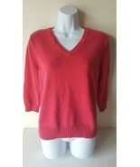 Pria Womens Sweater Large Pink  100% Cotton V Neck - $15.83