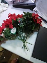 Beautysilk Plastic Stem Flowers - 4 Poinsttias and 1 Christmas Holly - $8.23
