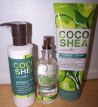 3 Pc Bath & Body Works Coco Shea Cucumber Set- Lotion, Mist, Creamy Wash - $35.95