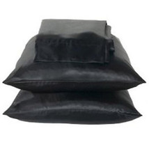 2 Standard / Queen size SATIN Pillow Cases / Covers BLACK Color - Brand New - £11.70 GBP