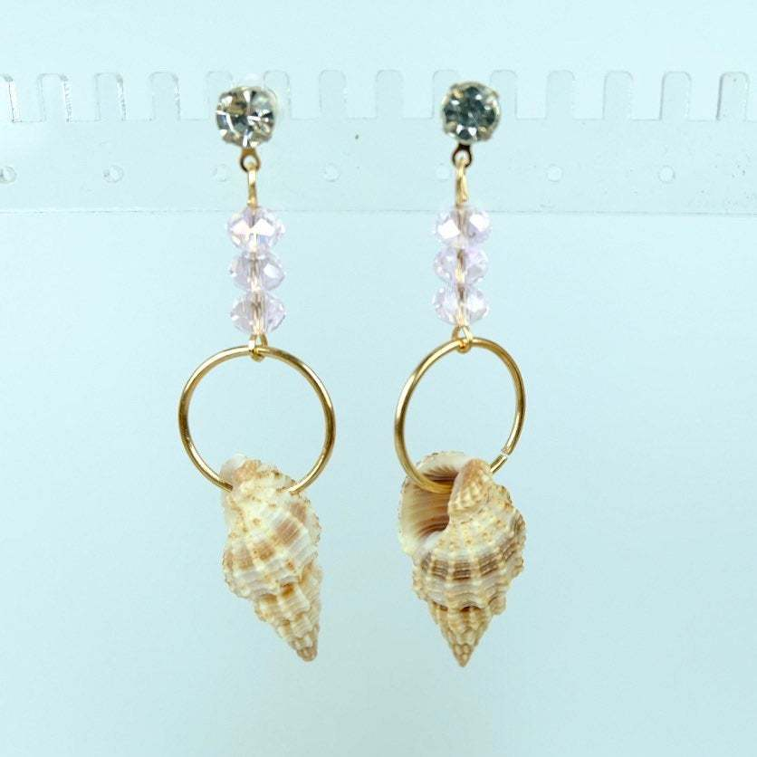 Beach Earrings, Mismatched natural Shell Dangle Earrings with Pink Crystal image 3