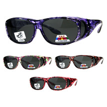 Polarized Womens Rhinestone Bling Fit Over Floral Print 63mm Sunglasses - $19.71 CAD