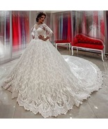 Lace Ball Gowns Wedding Dresses China Long Sleeve Bridal Gowns Plus Size... - $265.00