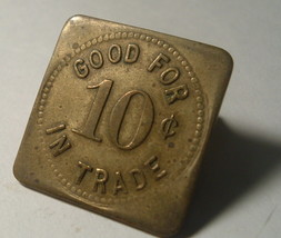 Rare Trade Token , Brass Square HORNER's Lunch Shelby Ohio 10 cents HARD... - $55.00
