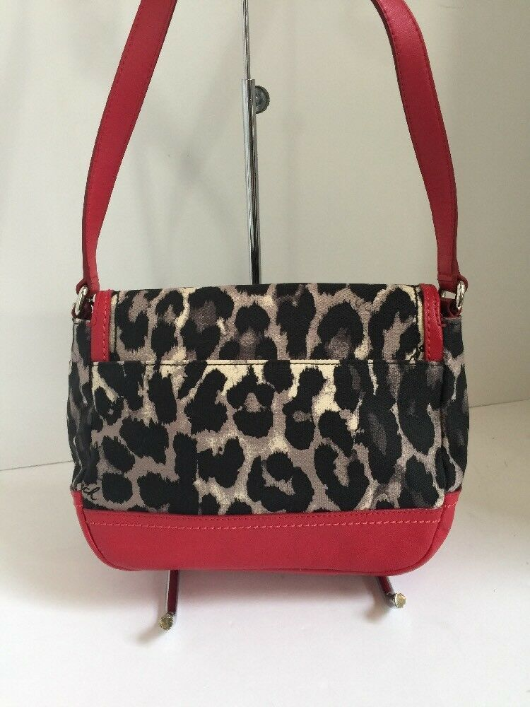Coach Crossbody Bag F24103 Park Ocelot Leather Fabric Red Black  B2F