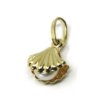 ROUNDED 18K YELLOW GOLD OYSTER SHELL PENDANT WITH PEARL INSIDE 11mm, 0.43 inches image 1