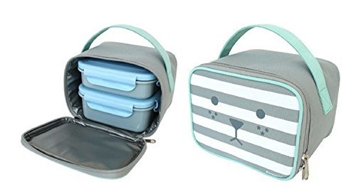 Rolly Mon Lunch Box Dual Structure Meal Prep with Case Stainless Steel Rice Cont