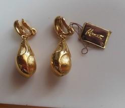 Vintage Signed Monet Gold-tone Clip-on Dangle Earrings  - $22.76