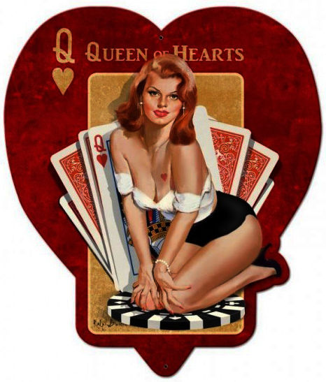 Queen of Hearts Pin-Up Plasma Cut Metal Sign