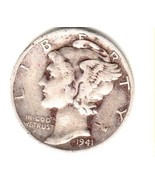 1941-P MERCURY SILVER DIME GOOD CONDITION---.90c SHIPPING - £1.38 GBP