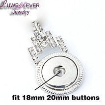 Hot Sale 203 Lock Rhinestone Snaps Button Necklace Pendant Necklace Fit 18mm But image 5