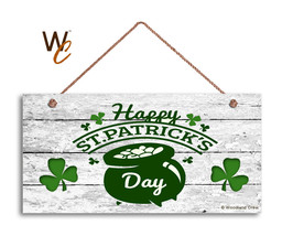 Happy St. Patrick's Day Holiday Rustic 5x10 Sign, Front Door Sign, Pot of Gold - $11.39
