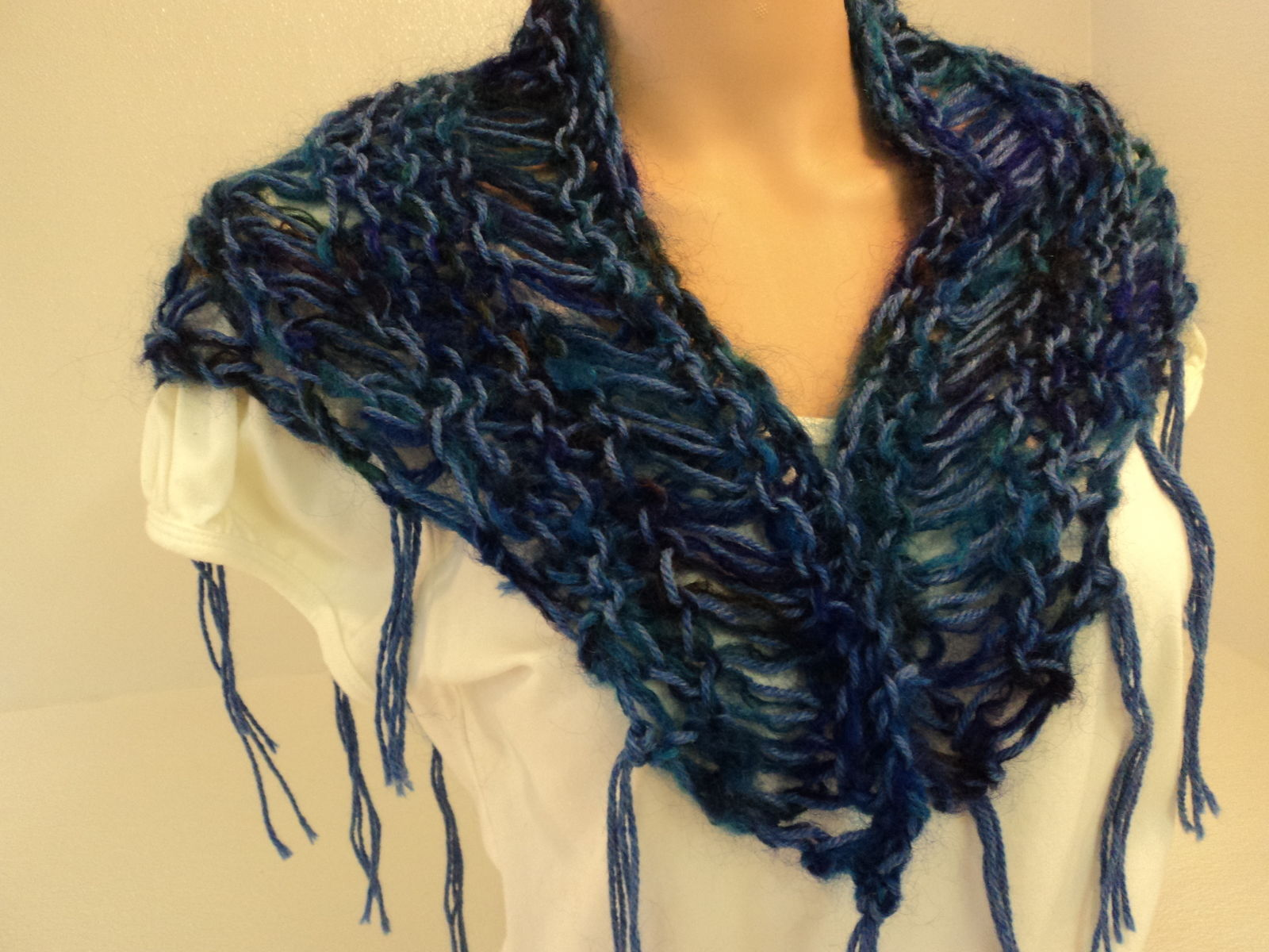 Handcrafted Scarf Blue Drop Stitch Fringes Merino Wool Mohair Female