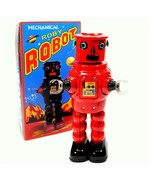 """TIN TOY ROBOT 8.5"""" Wind Up Metal Outer Space Age Roby R-35 Red NIB Retro... - $28.95"""