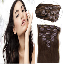 "Clip in Remy Human Hair Extensions 18"" Long 7Pcs / 70 gram Clip On Dark ... - $22.76"