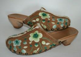The Original Car Shoe by Prada Clogs Floral Embroidery Mule Heels US 6 EUR 36 - $89.05