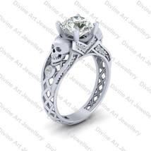 Solid 14k White Gold White Moissanite Skeleton Skull Gothic Wedding Ring... - $799.99