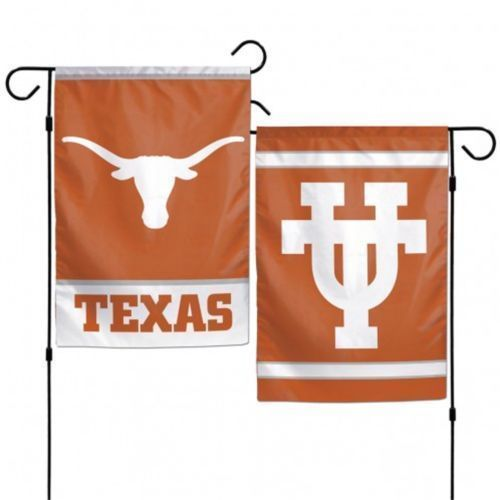 "TEXAS LONGHORNS TEAM GARDEN WALL FLAG BANNER 12"" X 18"" 2 SIDED NCAA"
