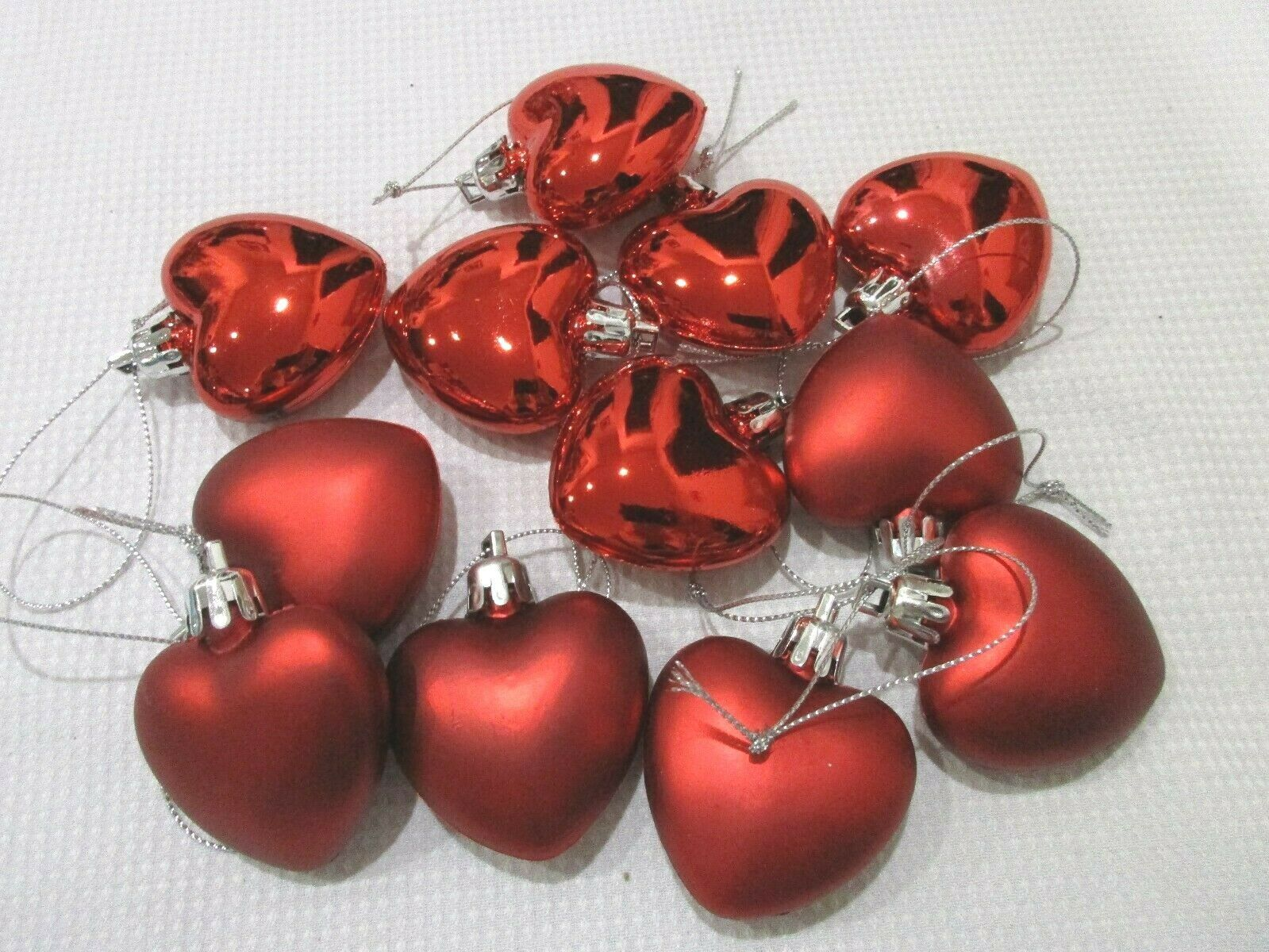 "Primary image for Valentines Day SHINY & MATTE Red Hearts 2"" Ornaments Home Decor Set of 12"