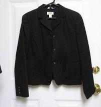 New Sz 10 Talbots Womens Black Textured Cotton/Spandex Full Lining Short Coat M - $12.99