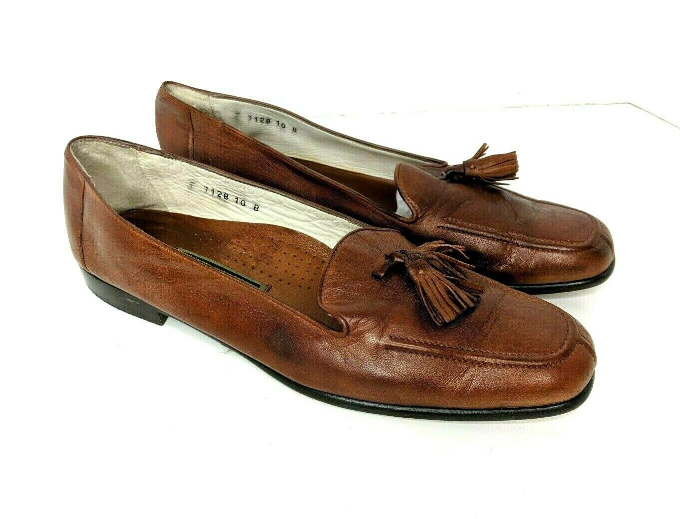Cole Haan Womens Size 10 Brown Soft Leather Tassle Split Toe Loafers