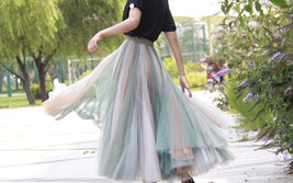 Rainbow Pleated Skirt Womens Rainbow Stripe Skirt Tulle Maxi Skirt Outfit image 10