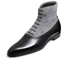 Handmade Men's Black Leather and Gray Suede High Ankle Boot image 3