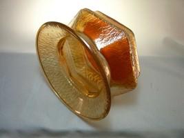 "Jeannette Crackle Glass Spittoon Cuspidor 1927 Marigold Carnival Hexagon 7""  - $18.95"