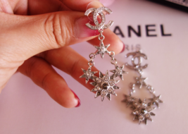 AUTHENTIC CHANEL 2015 CC LOGO STAR CRYSTAL DANGLE EARRINGS SILVER RARE image 8