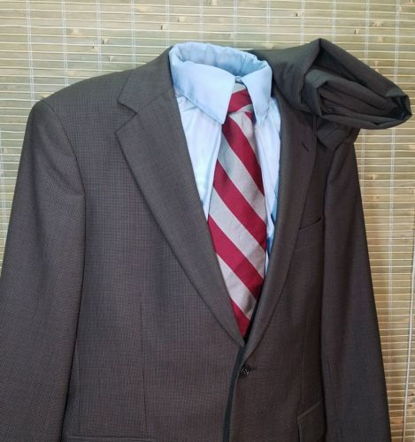 BROOKS BROTHERS 346 STRETCH MEN'S TAUPE HOUNDSTOOTH WOOL BLEND SUIT 41R 35 X 29