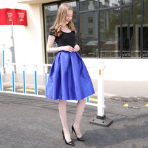 Lady PLEATED Ruffle MIDI Skirt Taffeta Midi Pleated Holiday Skirt-Blue,Plus Size image 3