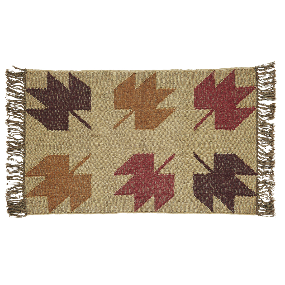 BRADDOCK Kilim Rug - 24x36 - Beige/Rust/Sable - Country Fall Leaves - VHC Brands