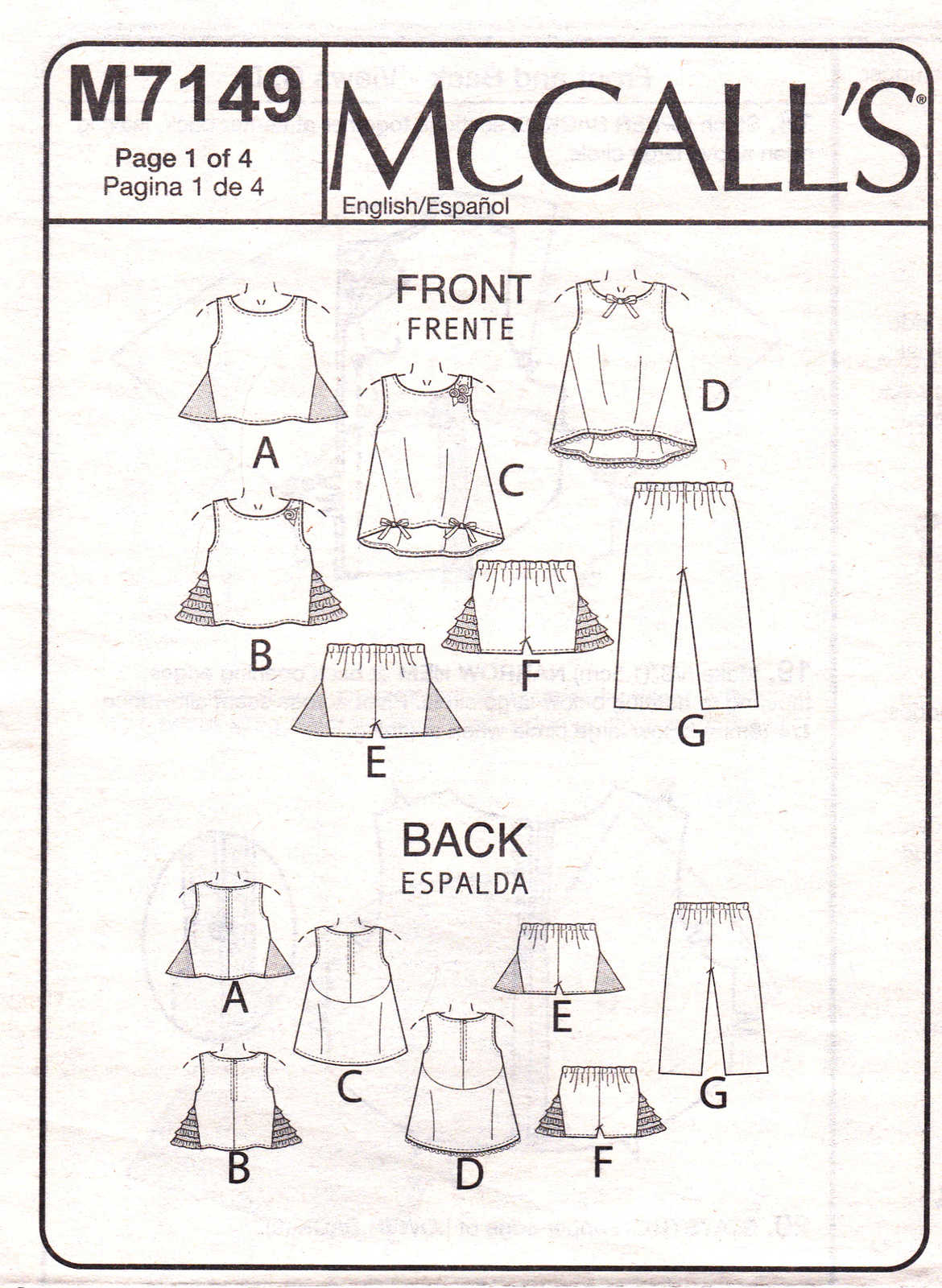 McCall's M7149 Girls Tops Tunics Capris Childrens Sewing Pattern Sizes 3-4-5-6