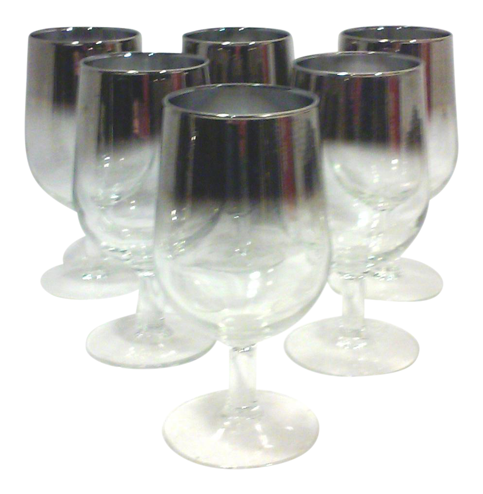 Silvered ombre wine glasses set of 6