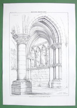 ARCHITECTURE PRINT : Germany South Porch of Cathedral at Munster - $8.55