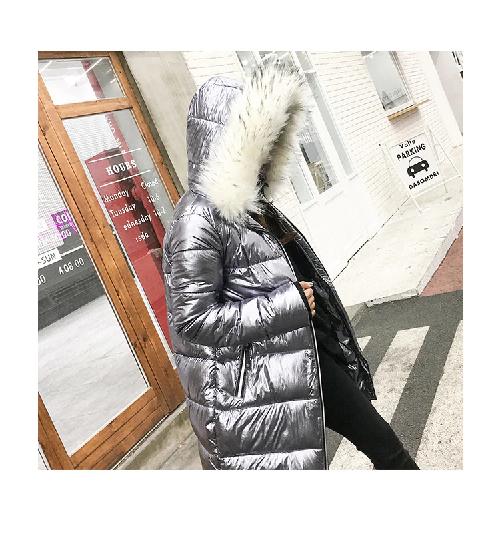 Metal Golden Silver Bright Hooded Jacket Coat Women Winter Warm Cotton Padded