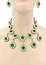 Decorativo Ispirato Sera Set Orecchini Collana Verde & Clearacrylic Strass - $33.30
