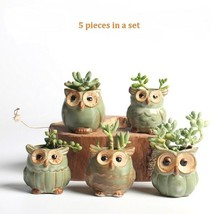 Owl-Shaped 5 Pieces Flower Pot Small Pottery Vase Home Garden Planters D... - ₹1,670.58 INR