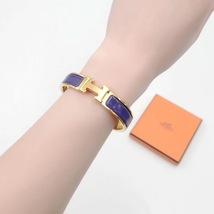 Authentic Hermes Navy Blue Enamel Gold H Clic-Clac Bracelet PM RARE image 9