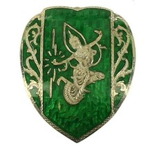 Vintage Sterling Deco 1930's Siam Green Enamel Heart Shaped Girl Big Pin... - $53.99