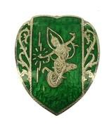 Vintage Sterling Deco 1930's Siam Green Enamel Heart Shaped Girl Big Pin... - $53.99