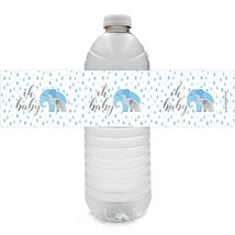 Blue Elephant Baby Shower Water Bottle Labels | 24 Stickers - $12.57
