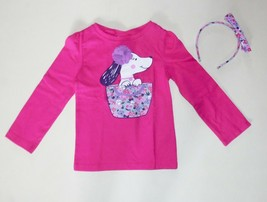 4c783515e Gymboree Girls Pink Puppy Tee Gray Leggings Headband Size 12-18 18-24 2T